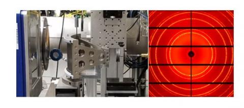 Figure 1: (left) HPCAT's Soller slit assembly, positioned between a diamond anvil cell and the Pilatus detector, during commissioning on the General Purpose Table in 16-ID-B. (right) X-ray image of ceria highlighting the slits' exceptionally large field-of-view.