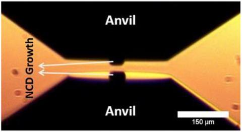 Figure caption: NCD micro-anvils grown on single crystal diamond anvils and mounted in an opposed anvil configuration before pressurization in a diamond anvil cell. The entire diamond anvil including the NCD micro-anvil has been deposited with a one micron thick layer of tungsten metal for pressure measurement by x-ray diffraction.
